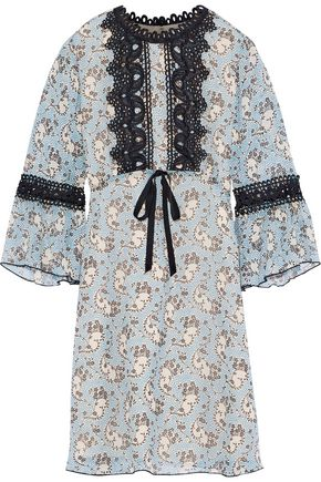 ANNA SUI Guipure lace-trimmed printed silk-chiffon mini dress