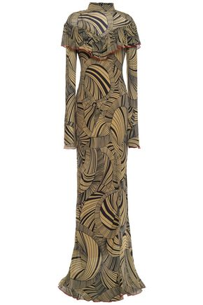 DE LA VALI Josephine ruffled printed crepe de chine maxi dress