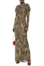 DE LA VALI Josephine ruffled printed crepe de chine maxi dress