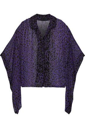 ANNA SUI Draped leopard-print silk-georgette top