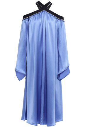 ROKSANDA Cold-shoulder silk-satin midi dress