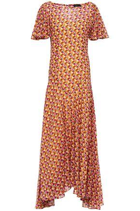 DE LA VALI Floral-print silk crepe de chine maxi dress