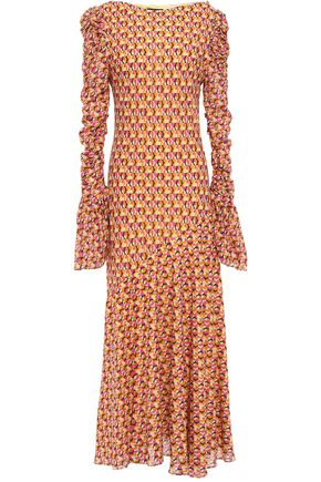 DE LA VALI Ruched floral-print silk-crepe maxi dress