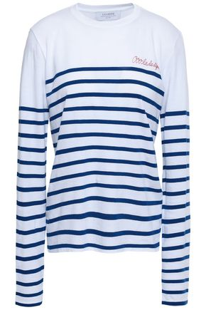 LA LIGNE Embroidered striped cotton-jersey top