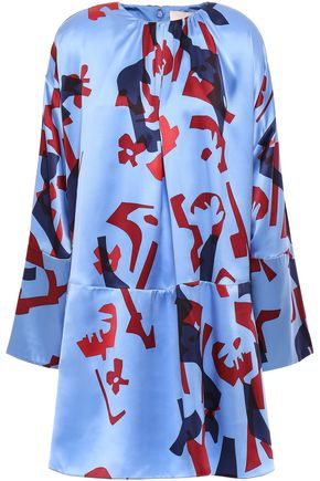 ROKSANDA Printed silk-satin mini dress