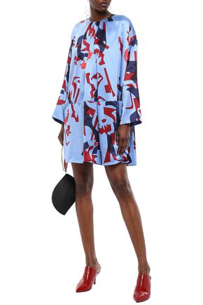 ROKSANDA Printed silk-satin mini dress