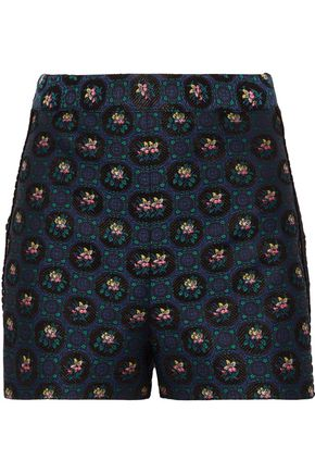 ANNA SUI Guipure lace-trimmed floral-jacquard shorts