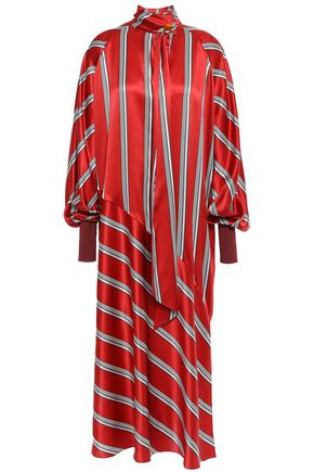 ROKSANDA Striped silk-satin midi dress