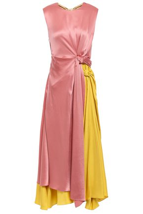 ROKSANDA Knotted color-block silk-satin and twill midi dress