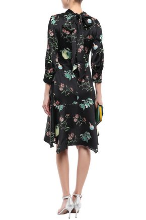 PETER PILOTTO Tie-neck printed hammered silk-satin mini dress