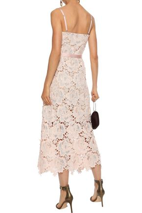 CATHERINE DEANE Frida satin-trimmed guipure lace midi dress
