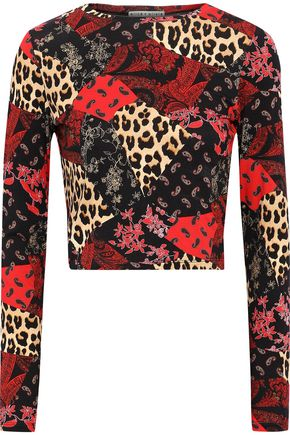 ALICE + OLIVIA Delaina cropped patchwork-effect printed stretch-jersey top