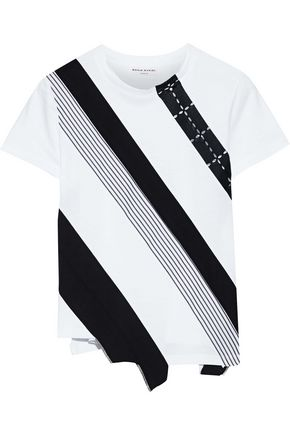 SONIA RYKIEL Broderie anglaise and poplin-paneled striped cotton-jersey T-shirt