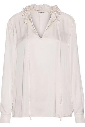 SONIA RYKIEL Ruffle-trimmed satin blouse