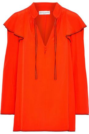 SONIA RYKIEL Ruffled washed-silk blouse