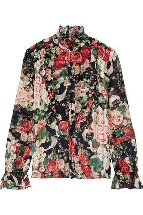 ANNA SUI Ruffle-trimmed floral-print burnout satin blouse