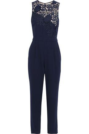 ALICE + OLIVIA Jeri guipure lace-paneled crepe jumpsuit