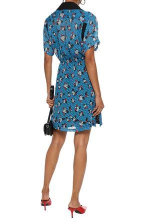 ANNA SUI Printed fil coupé chiffon mini shirt dress