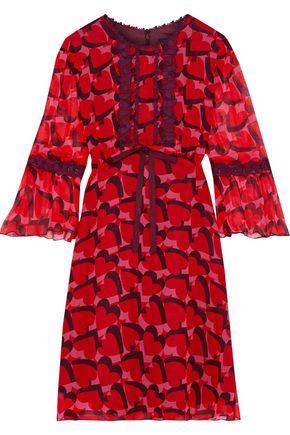 ANNA SUI Guipure lace-trimmed printed silk-georgette mini dress