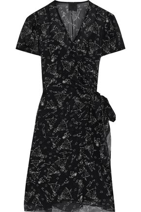 ANNA SUI Printed silk-chiffon mini wrap dress
