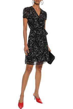 ANNA SUI Printed silk-chiffon mini wrap dress