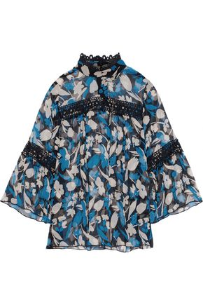 ANNA SUI Guipure lace-trimmed floral-print silk-georgette blouse