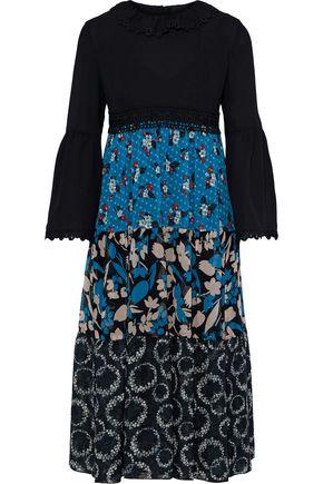 ANNA SUI Crepe-paneled printed jacquard, georgette and chiffon silk dress