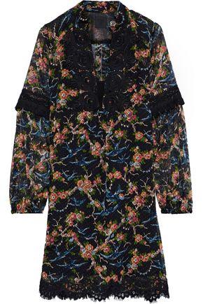 ANNA SUI Guipure lace-trimmed printed fil coupé silk-blend mini dress