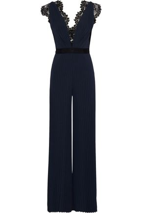 CATHERINE DEANE Hessa lace-trimmed pleated stretch-jersey jumpsuit