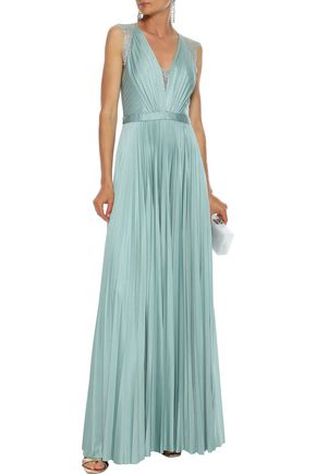 Catherine Deane Tops CATHERINE DEANE WOMAN NELIA LACE-PANELED PLEATED SATIN GOWN GREY GREEN