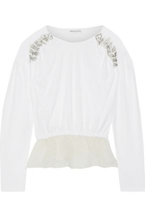 SONIA RYKIEL Fil coupé georgette-paneled appliquéd cotton-jersey top