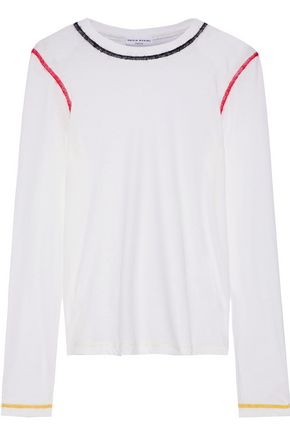 SONIA RYKIEL Embroidered slub cotton-jersey top