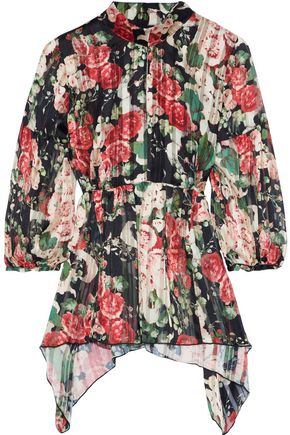 ANNA SUI Draped floral-print burnout satin blouse