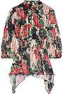 ANNA SUI Draped floral-print burnout satin blouse