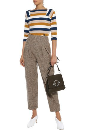 SONIA RYKIEL Embroidered striped cotton-jersey top