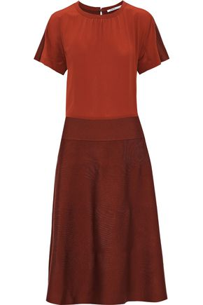 AGNONA Crepe de chine and knitted silk midi dress