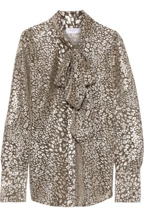 EQUIPMENT Luis pussy-bow leopard-print Lurex-blend blouse