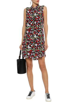 Equipment Woman Janna Floral-Print Washed-Silk Mini Shirt Dress Black