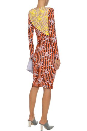 HOUSE OF HOLLAND Paneled ruched printed jersey dress