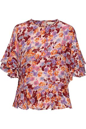 byTIMO Ruffled floral-print crepe de chine blouse