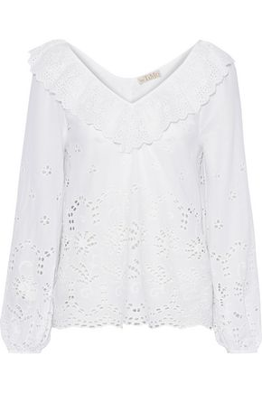 byTIMO Ruffle-trimmed broderie anglaise cotton blouse