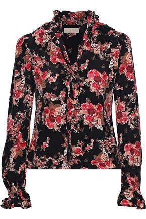 byTIMO Tie-neck floral-print crepe de chine blouse