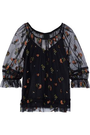 ANNA SUI Gathered embroidered tulle blouse