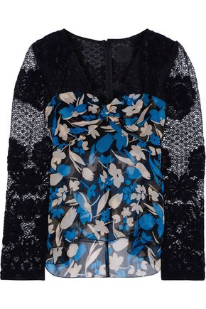 ANNA SUI Floral-print georgette-paneled lace top