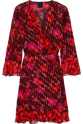 ANNA SUI Georgette-trimmed printed fil coupé chiffon mini wrap dress