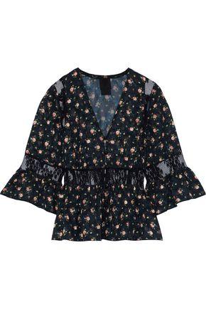 ANNA SUI Lace-paneled floral-print fil coupé blouse