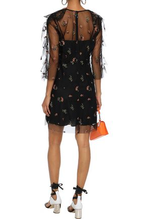 ANNA SUI Ruffle-trimmed embroidered tulle mini dress