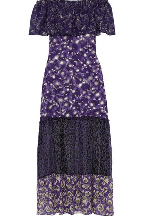 ANNA SUI Off-the-shoulder printed chiffon, georgette and fil coupé silk maxi dress