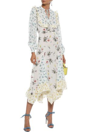 byTIMO Ruffle-trimmed floral-print cotton-blend voile midi dress