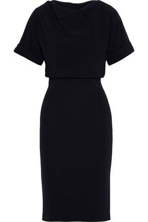 BADGLEY MISCHKA Draped textured-cady dress